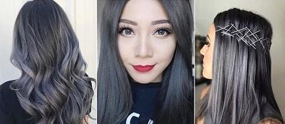 Màu tóc nhuộm đen khói đẹp cho học sinh nữ