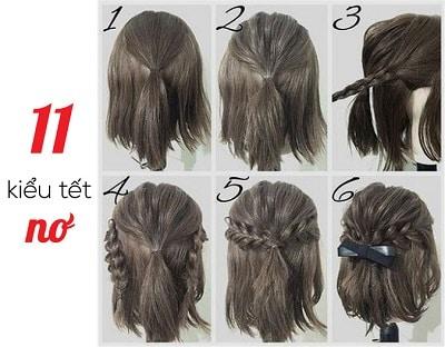 Kiểu tóc ngắn tết nơ lửng