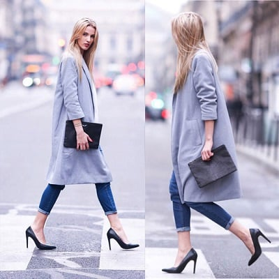 Jeans xắn ống + Giày cao gót