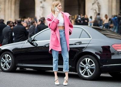 Jeans cạp cao + Giày cao gót