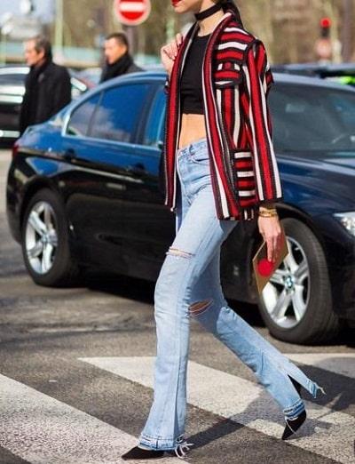 Jeans ống vẩy + Giày cao gót