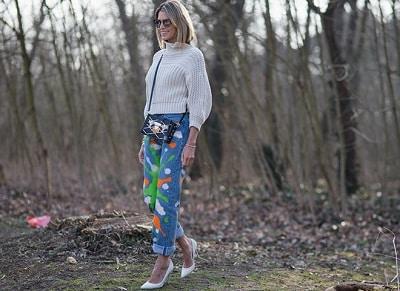 Jeans vẩy sơn + Giày cao gót