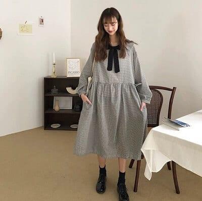 Đầm vintage sọc vuông form rộng