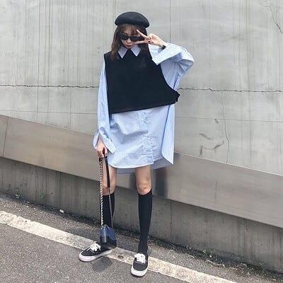 Áo len tay ngắn mặc kèm áo sơ mi oversize