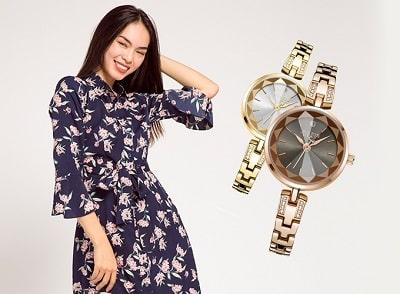 Đầm vintage và đồng hồ đính đá