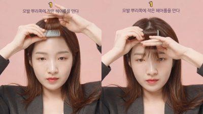 Hãy thử trải nghiệm 2 ống lô cùng lúc để tóc mái có độ phồng hơn ở chân tóc.