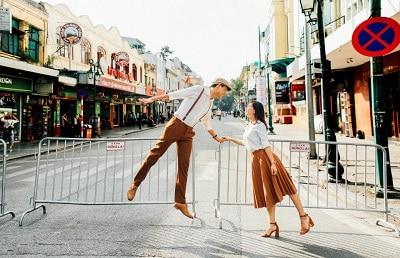 Áo-áo + Quần-Váy: Cùng tông màu chụp ảnh cưới ngoại cảnh