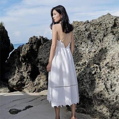 Váy voan trắng đan dây nữ tính