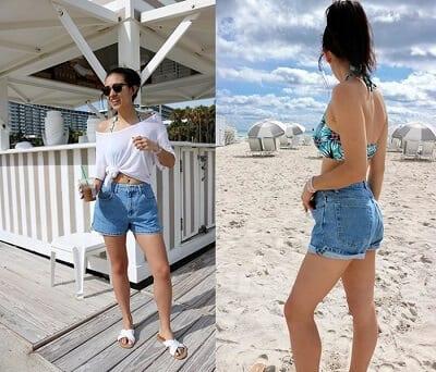 Áo phông oversize + Bikini + Jeans short