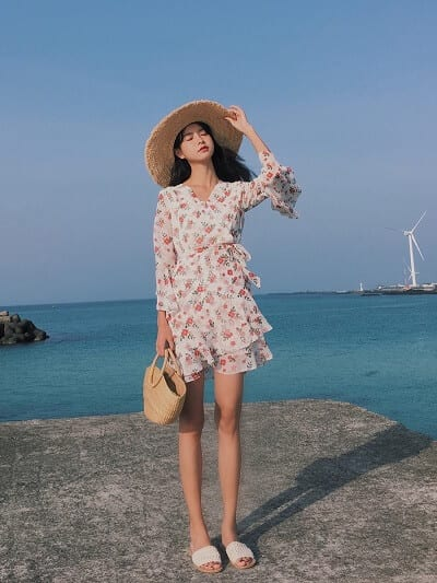 Váy hoa đi biển xòe