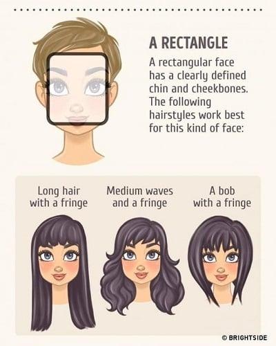 Kiểu tóc phù hợp với gương mặt hình chữ nhật