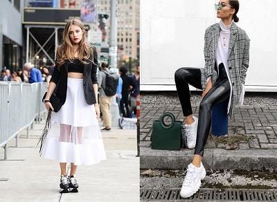 Phối giày sneaker với áo croptop cá tính và quần da