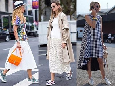 Phối giày sneaker với đầm suông - đầm sơ mi phong cách