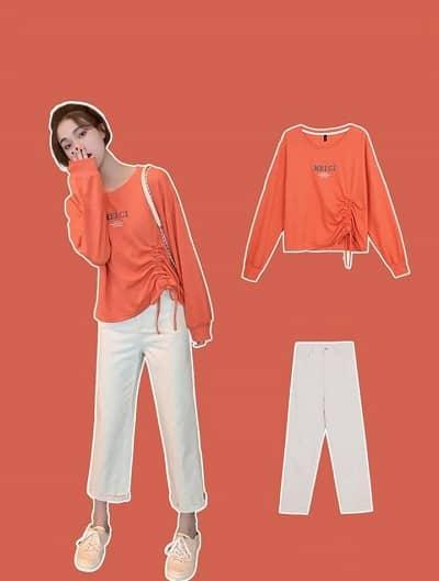 Áo sweater mỏng + Quần ulzzang + Giày thể thao