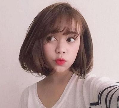 Tóc Bob Hàn Quốc ngôi lệch dễ thương