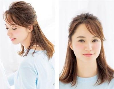 Buộc nửa đầu mái xéo giúp khuôn mặt tròn thêm xinh xắn