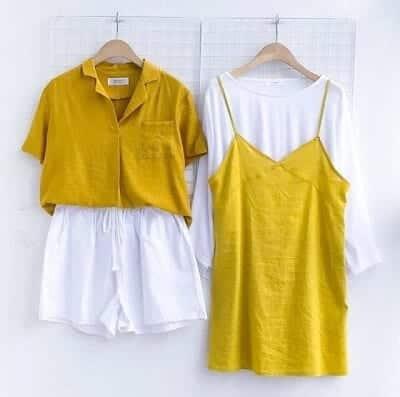 Chân váy yếm trắng - vàng