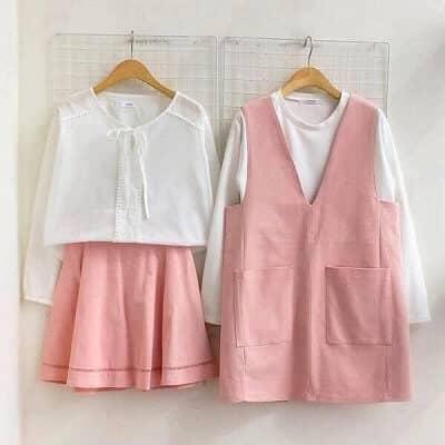 Chân váy yếm trắng - hồng