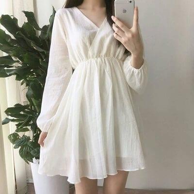 Đầm cổ v nhún eo màu trắng