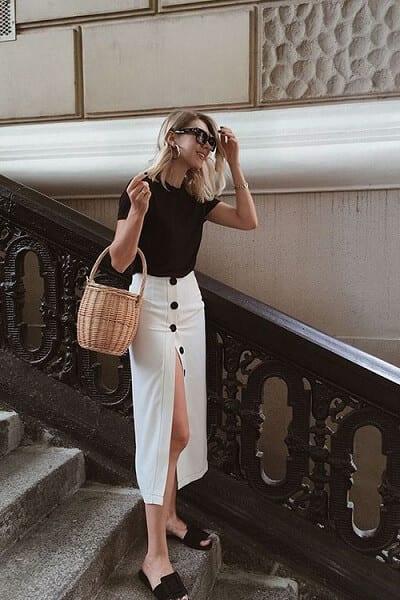 Chân váy vintage đính nút quyến rũ