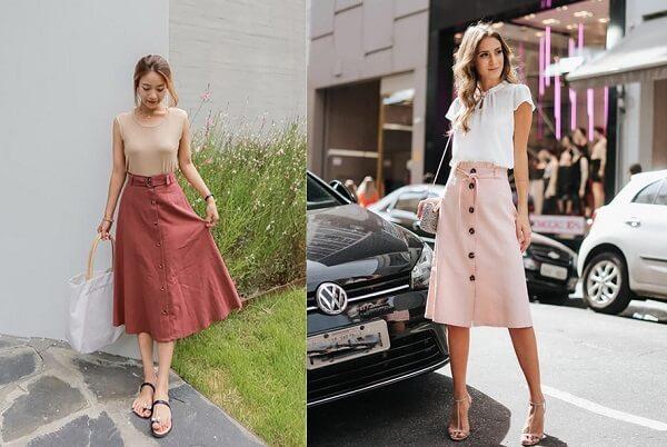 Phong cách street style với kiểu phối đồ cùng chân váy cài nút