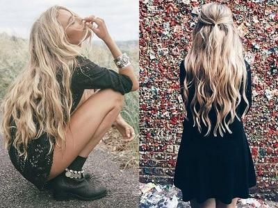 Mẫu tóc xoăn gợn sóng nhuộm vàng phong cách boho đầy lôi cuốn.