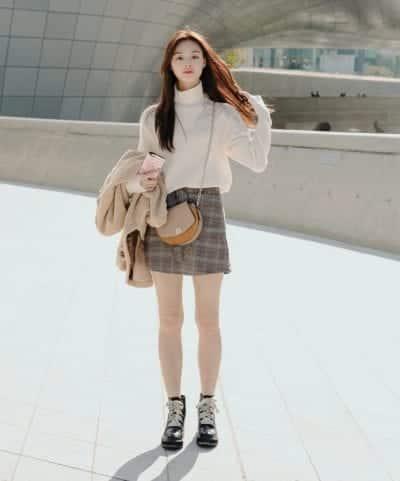 Chân váy kẻ style ulzzang - Ảnh 1