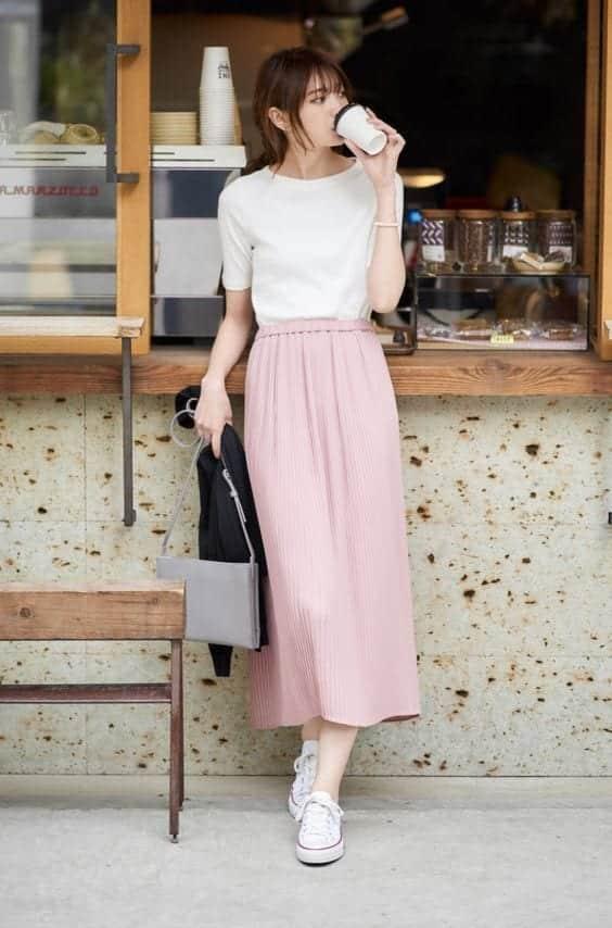 Cách mặc váy dài cho người lùn chân váy midi