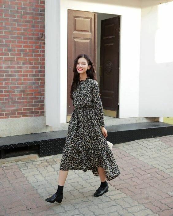 Cách mặc váy dài cho người lùn váy dài