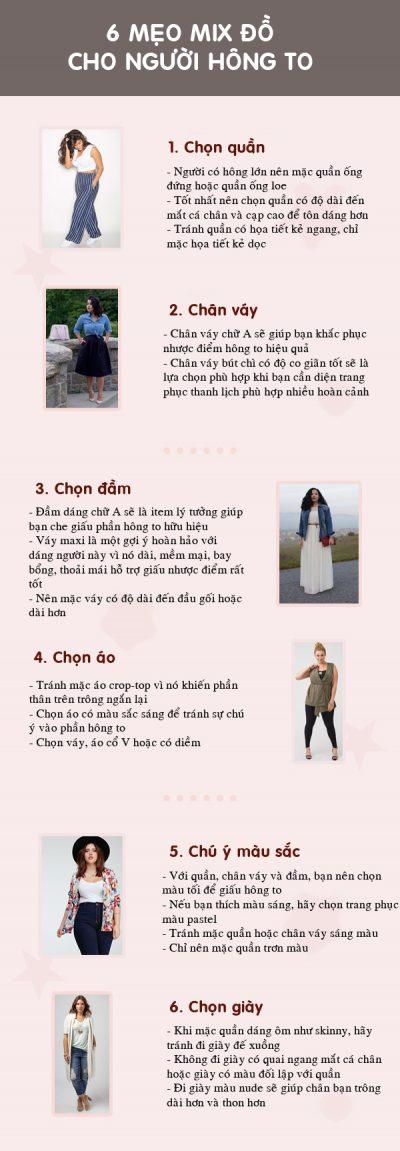 [Infographic] Những mẹo diện đồ giấu nhược điểm hiệu quả cho nàng hông to