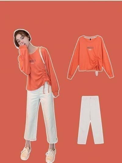 Áo sweater mỏng cùng quần Ulzzang
