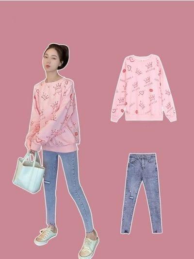 Áo họa tiết + Quần skinny jean