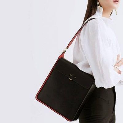 Túi xách gam màu đen cơ bản - Ảnh 5