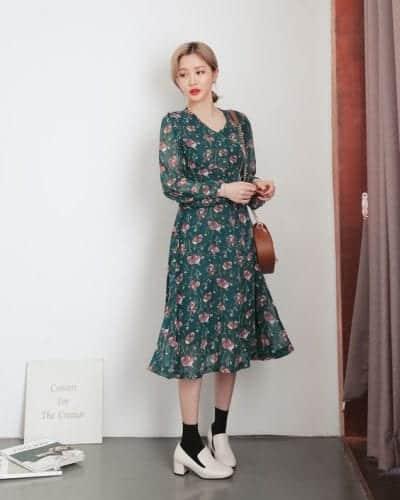 mẫu váy mùa thu đẹp nhất váy voan họa tiết