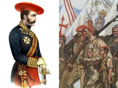 Mũ beret màu đỏ được dùng trong cuộc nội chiến Tây Ban Nha, sau đó chúng nhanh chóng trở thành một biểu tượng những người Carlists nói chung.