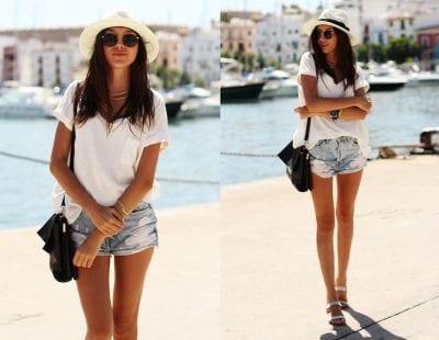 Quần sooc và áo phông là những item được các cô nàng thời trang ưa chuộng nhất vào mùa hè nóng nực