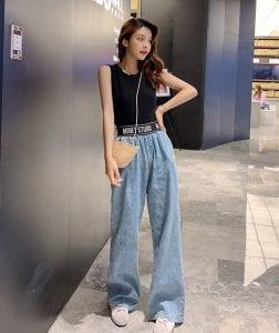 Converse + quần jean suông dài + croptop