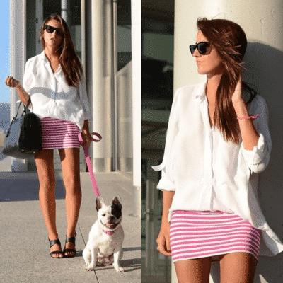 Chân váy bút chì hồng nổi bật với áo sơ mi trắng đơn giản