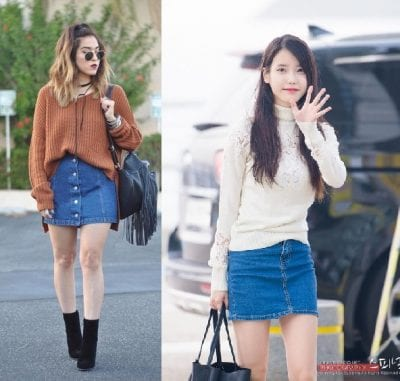 Chân váy jean phối với áo sweater