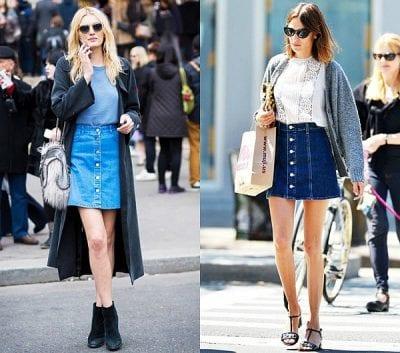Chân váy jean phối với áo khoác dài