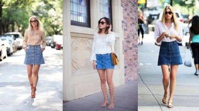 Chân váy jean phối với giày sandal