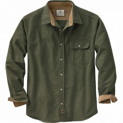Áo sơ mi flannel trơn màu rêu phối vàng nâu