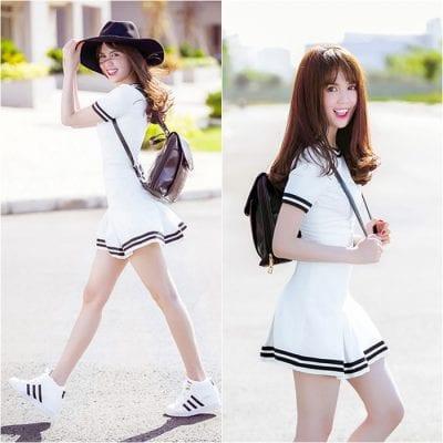 Năng động cùng cách phối giày thể thao trắng cùng váy ngắn