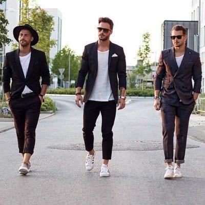 Trẻ trung năng động khi kết hợp sneaker trắng với suit