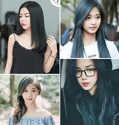 Tóc màu đen ánh xanh rêu