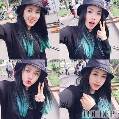 Tóc đen móc lai màu xanh rêu