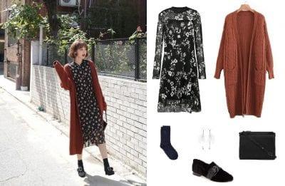 Váy hoa vintage mix cùng áo khoác len - Ảnh 1