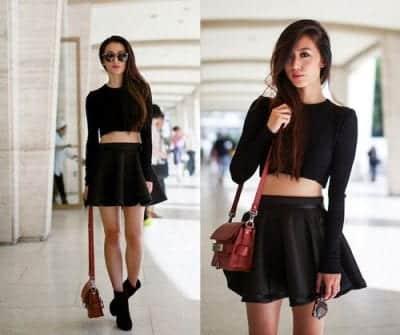 Mix chân váy xòe đen cùng áo Croptop giúp khoe vòng eo của các nàng