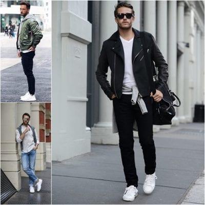 Lãng tử với cách mix giày thể thao trắng với quần Jeans/ Kaki và áo khoác layer nhiều lớp