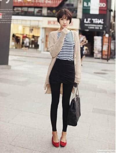 Mix quần Legging cùng áo khoác Cardigan cho mùa thu